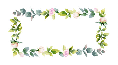 Watercolor vector hand painting frame of peony flowers and green leaves. Spring or summer flowers for invitation, wedding or greeting cards.