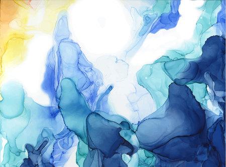 Fondo de tinta de color abstracto. Estilo de mármol. Ilustración de vector pintado a mano para su diseño.