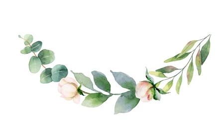 Guirnalda de pintura de la mano de vector acuarela de flores rosas y hojas verdes. Flores de primavera o verano para invitaciones, bodas o tarjetas de felicitación.