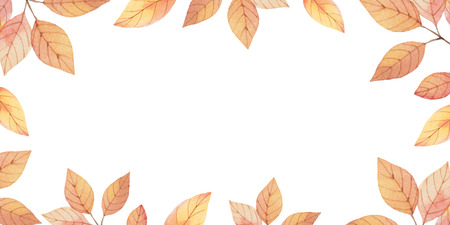 Watercolor autumn vector card template design of leaves and branches isolated on white background. Autumn illustration for greeting cards, wedding invitations, quote and decorations.