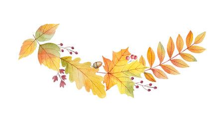 Guirnalda de vector otoño acuarela con hojas y ramas aisladas sobre fondo blanco. Foto de archivo - 109324807