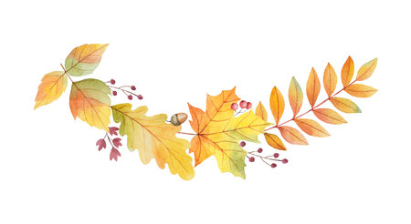 Watercolor autumn vector wreath with leaves and branches isolated on white background. Illustration