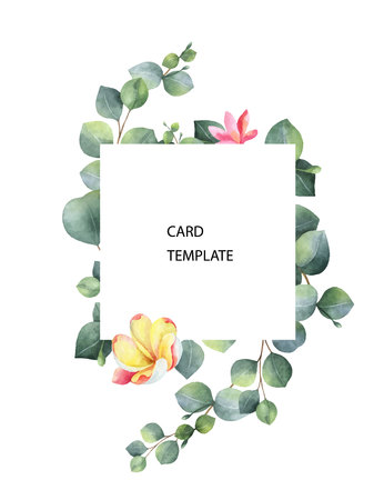 Watercolor vector card template design with eucalyptus leaves and flowers. Illustration for wedding invitation, save the date or greeting design. Spring or summer flowers with space for your text.