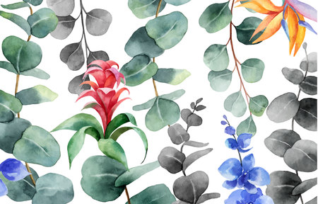 Watercolor vector background with green eucalyptus and exotic flowers. Spring or summer flowers for invitation, wedding or greeting cards.