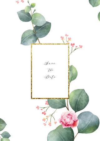 Watercolor vector card template design with eucalyptus leaves and flowers. Illustration for wedding invitation, save the date or greeting design. Spring or summer flowers with space for your text. 写真素材 - 110256263