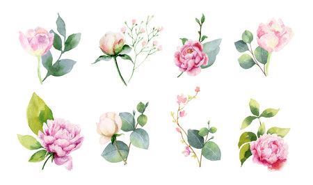 Aquarell-Vektor-Set von Blumensträußen aus grünen Zweigen und Blumenset aus Blumensträußen aus grünen Zweigen und Blumen. Illustration für Hochzeitseinladung, Save the Date oder Grußdesign. Vektorgrafik