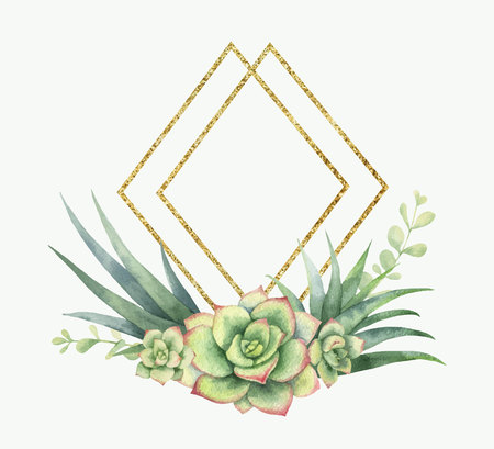 Watercolor vector composition of cacti, succulents and geometric Golden frame, isolated on white background. Flower illustration for your projects, greeting cards and invitations. Illustration