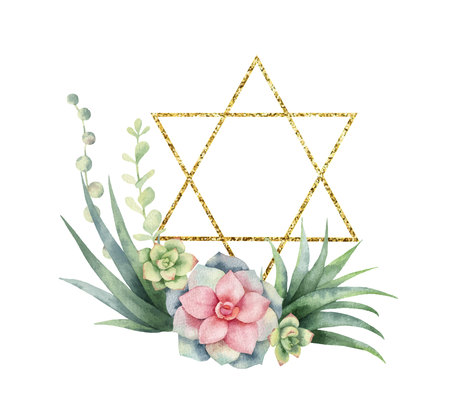 Watercolor vector composition of cacti, succulents and gold Star of David.