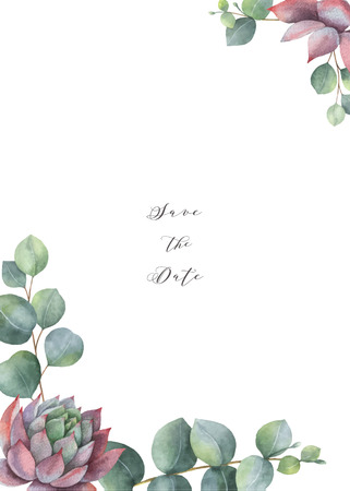 Watercolor vector card template design with eucalyptus leaves and succulents.