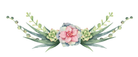 Watercolor vector wreath of cacti and succulent plants isolated on white background. Flower illustration for your projects, greeting cards and invitations. Imagens - 110232758