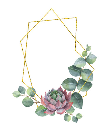 Watercolor composition of eucalyptus leaves, succulents and geometric Golden frame.