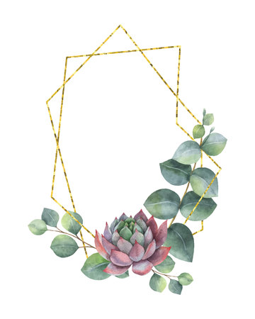 Watercolor vector composition of eucalyptus leaves, succulents and geometric Golden frame, isolated on white background. Flower illustration for your projects, greeting cards and invitations.