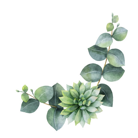 Watercolor vector wreath with eucalyptus leaves and succulents. Illustration for wedding invitation, save the date or greeting design. Spring or summer flowers with space for your text.