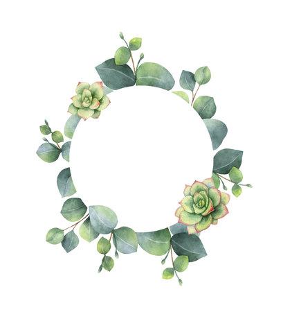 Aquarel vector frame met eucalyptusbladeren en vetplanten. Illustratie voor huwelijksuitnodiging, bewaar de datum of groetontwerp. Lente- of zomerbloemen met ruimte voor uw tekst. Vector Illustratie