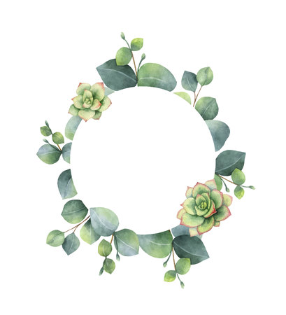Watercolor vector frame with eucalyptus leaves and succulents. Illustration for wedding invitation, save the date or greeting design. Spring or summer flowers with space for your text. Vectores