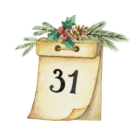 Watercolor vector paper calendar and spruce branch for Christmas and new year design. Illustration for greeting cards and invitations isolated on white background. Stock Illustratie