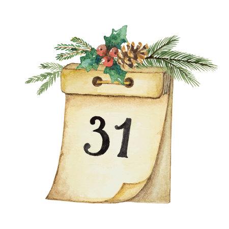 Calendario di carta vettoriale dell'acquerello e ramo di abete rosso per il design di Natale e Capodanno. Illustrazione per biglietti di auguri e inviti isolati su sfondo bianco. Vettoriali