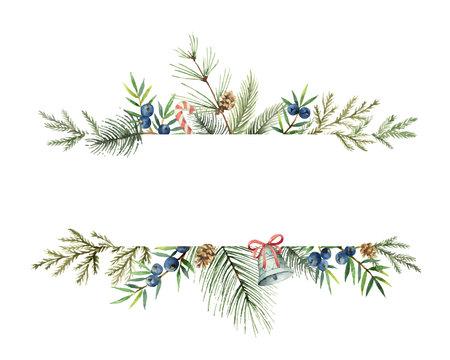 Banner de Navidad vector acuarela con ramas de abeto y lugar para el texto. Ilustración para tarjetas de felicitación e invitaciones aisladas sobre fondo blanco. Ilustración de vector