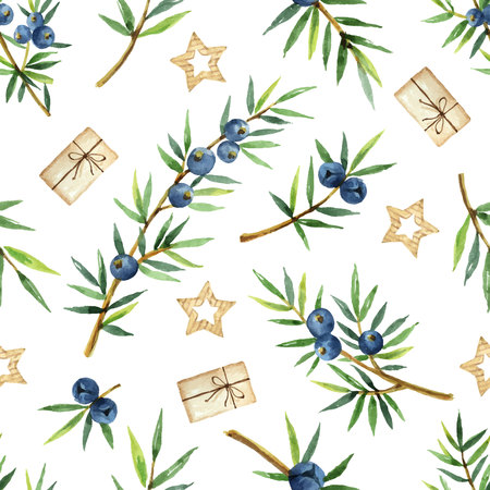Watercolor seamless pattern of plants juniper and gifts isolated on white background. Botanical illustration with berries and branches.