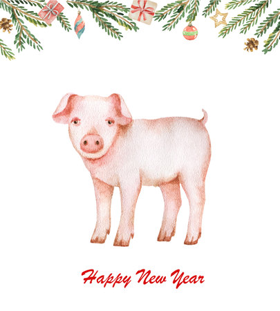 Watercolor Happy Chinese New Year 2019 year of the pig Ilustração