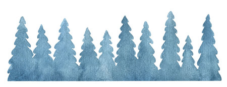 Watercolor vector background with fir trees. Christmas illustration for your design.