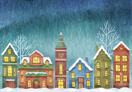 Winter with houses on night sky Ilustracja