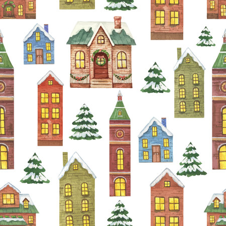 Watercolor seamless pattern with Christmas houses isolated on white background. Иллюстрация