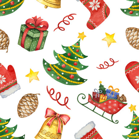 Watercolor vector seamless pattern with Christmas tree and toys. Illustration for greeting cards, textiles, packaging, invitations. Illustration