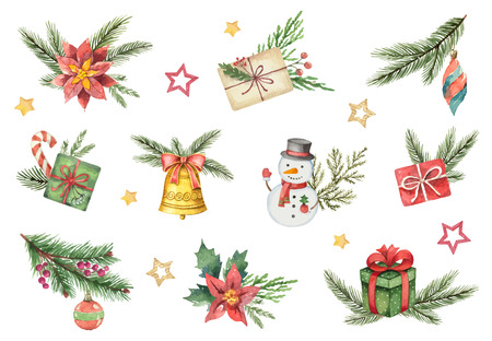 Watercolor vector set with Christmas elements isolated on white background. Illustration for your holiday design isolated on a white background. Ilustração