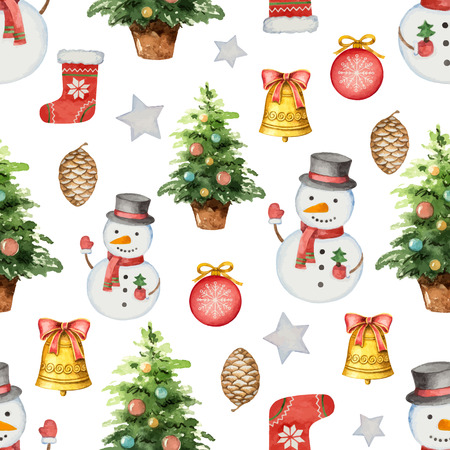 Watercolor vector seamless pattern with Christmas tree and toys. Illustration for greeting cards, textiles, packaging, invitations. 向量圖像