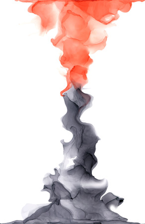 Abstract color alcohol ink texture isolated on white background . Marble style. Hand painted vector illustration for your design.