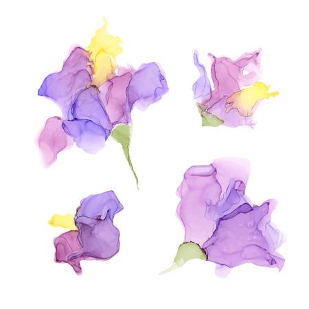 Fleurs d'encre d'alcool de couleur abstraite isolées sur fond blanc. Style marbre. Illustration vectorielle peinte à la main pour votre conception. Vecteurs