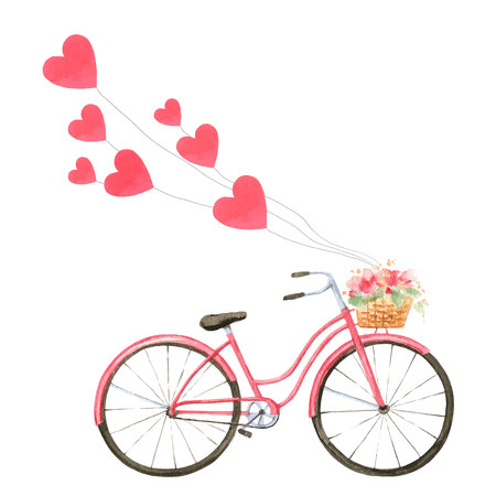 Happy Valentines day. Watercolor vector card with a bicycle and red hearts isolated on white background. Hand drawn illustration for Mothers Day or Womens Day, greeting cards, invitations.