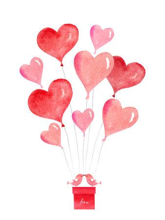 Szczęśliwych walentynek. Karta wektor akwarela z latającymi balonami w postaci serc, pudełek prezentowych i ptaków. Ręcznie rysowane ilustracja na dzień matki lub dzień kobiet, kartki okolicznościowe, zaproszenia.