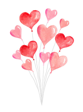 Happy Valentine's day. Watercolor vector card with flying balloons in the form of hearts. Hand drawn illustration for celebration, greeting cards, invitations.