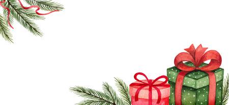 Tarjeta de Navidad de vector acuarela con ramas de abeto, regalos y lugar para el texto. Ilustración para tarjetas de felicitación e invitaciones aisladas sobre fondo blanco.