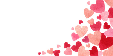 Buon San Valentino per il concept design... Bandiera di vettore dell'acquerello con cuori rossi isolati su sfondo bianco. Illustrazione disegnata a mano per la festa della donna, biglietti di auguri, inviti e poster. Vettoriali