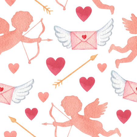 Happy Valentine's day. Watercolor vector seamless pattern with cupids and hearts isolated on white background. Hand drawn illustration for textile, packaging, greeting cards, invitations.