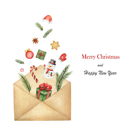 Watercolor  postal envelope with green spruce branches with gifts and toys.