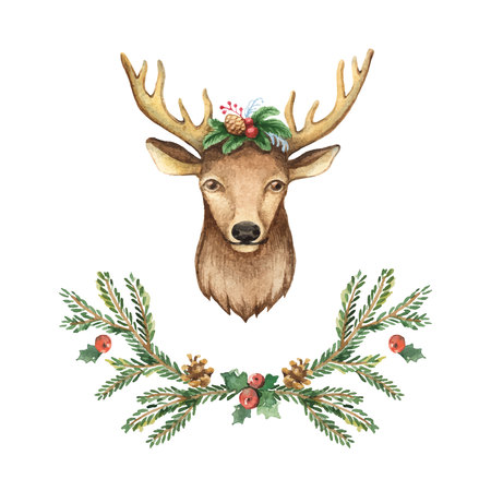 Watercolor vector greeting card with Christmas deer and spruce branches. Winter festive illustration for your design.