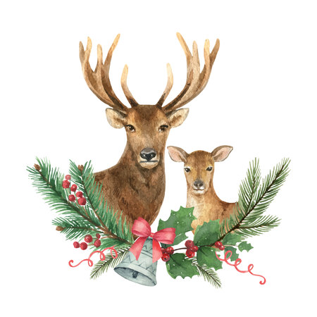 Christmas Reindeer with a green fir branch. Illustration for greeting cards, banners, invitations. Ilustração