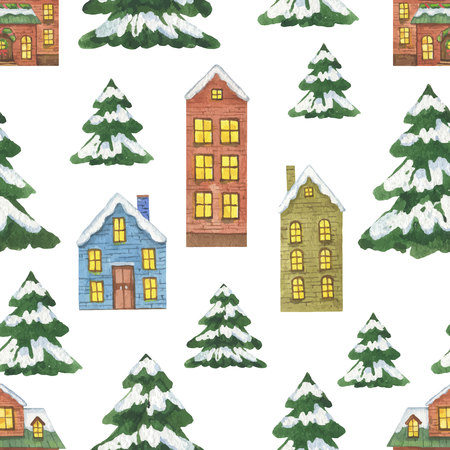 Watercolor seamless pattern with Christmas houses isolated on white background. Illustration for greeting cards, textiles, packaging, invitations.