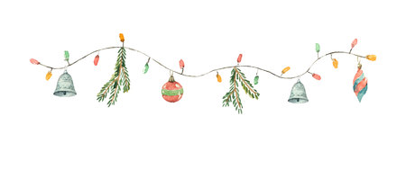 Watercolor vector Christmas garland with lights, balls, fir branches and bells. Illustration for greeting cards and invitations isolated on white background. Illusztráció