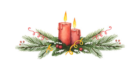 Watercolor vector Christmas wreath with green fir branches and candles. Illustration for greeting cards and invitations isolated on white background. Imagens - 113998162