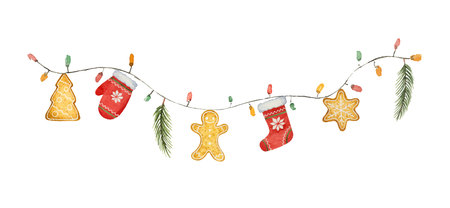 Aquarel vector kerst slinger met verlichting en geschenken. Illustratie voor wenskaarten en uitnodigingen geïsoleerd op een witte achtergrond.