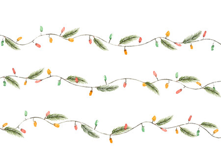 Watercolor vector Christmas garland with lights and fir branches. Illustration for greeting cards and invitations isolated on white background.