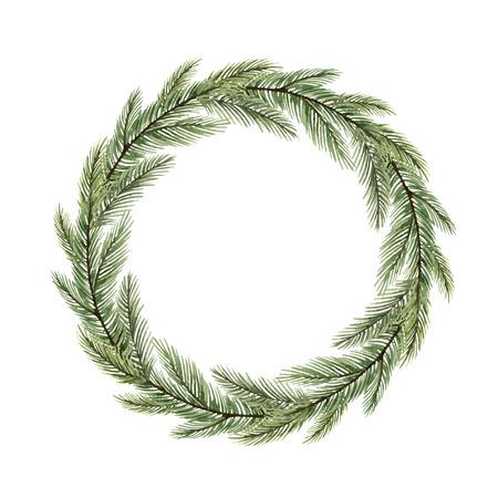 Aquarel vector kerstkrans met dennentakken en plaats voor tekst. Illustratie voor wenskaarten en uitnodigingen geïsoleerd op een witte achtergrond. Vector Illustratie