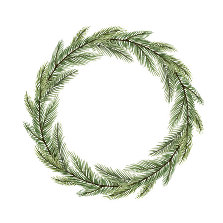 Watercolor vector Christmas wreath with fir branches and place for text. Illustration for greeting cards and invitations isolated on white background.