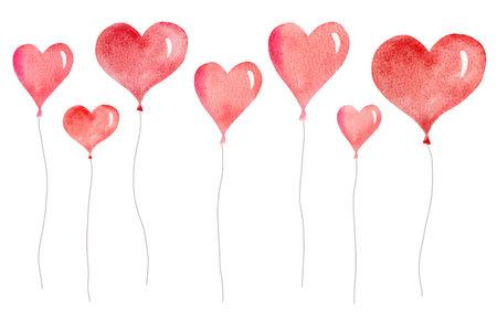 Aquarellvektorkarte mit fliegenden Ballons in Form von Herzen.