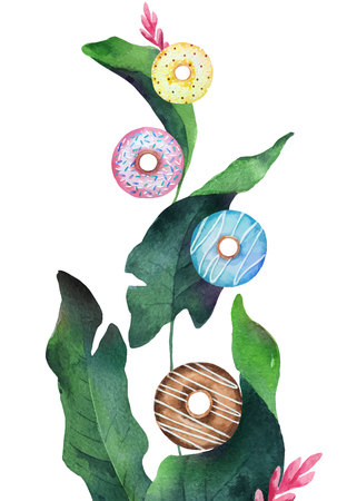Watercolor vector mixture of colorful flying donuts and green tropical leaves. Illustration for design wedding invitations, greeting cards, postcards. Illustration